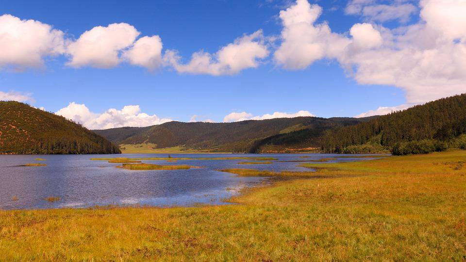 Fall, Bluesky, Lake, Scenery
