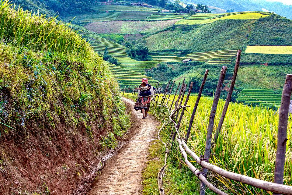 The Mother, Child, A Village, Road, Scenery