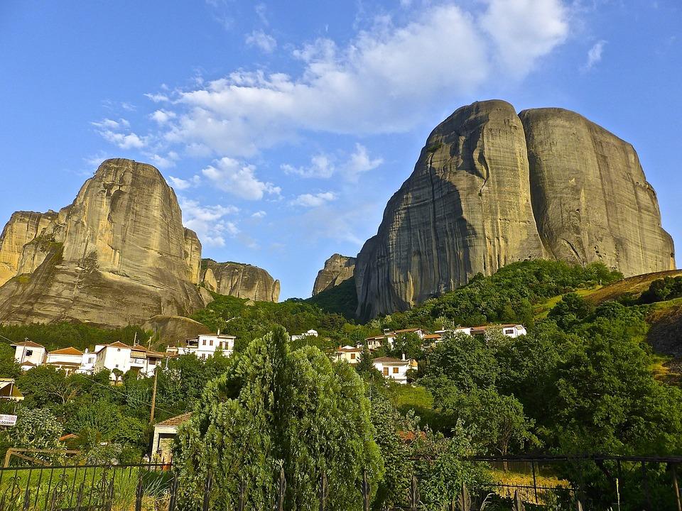 Landmark, Meteora, Greece, Mountain, Scenery, Scenic