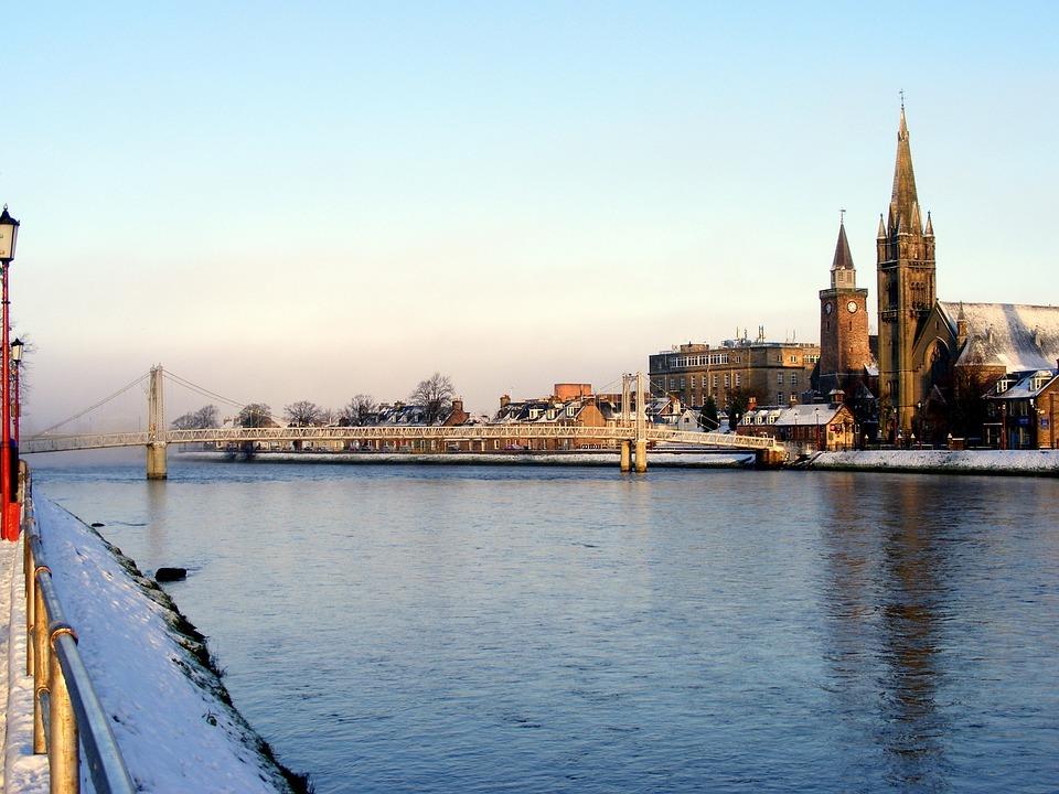 River, Riverbank, Bridge, Church, Scenery, Reflections