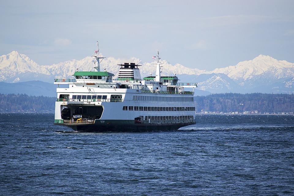 Ferry, Seattle, Washington, Olympic Mountains, Scenery