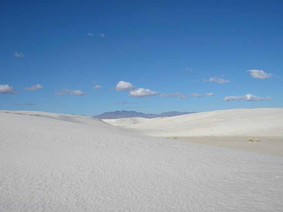 New Mexico, White Sands, Sand, White, Blue Sky, Scenery
