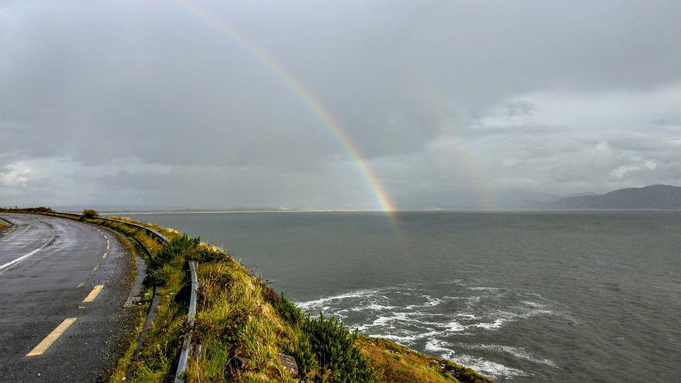 Ireland, Wide, Landscape, Hill, Scenic, Nature, Rainbow