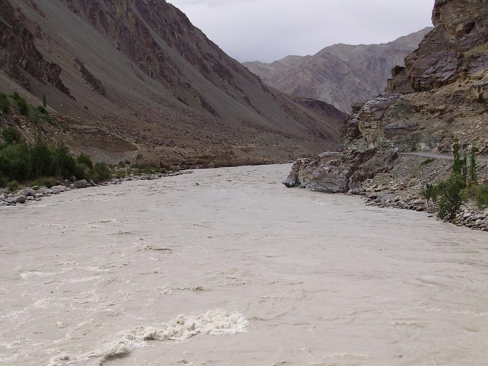 River, Valley, Ladakh, Mountains, Himalayas, Scenic