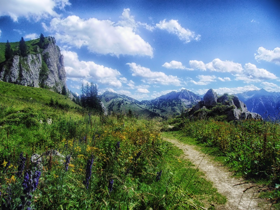 Austria, Landscape, Scenic, Sky, Clouds Mountain, Path
