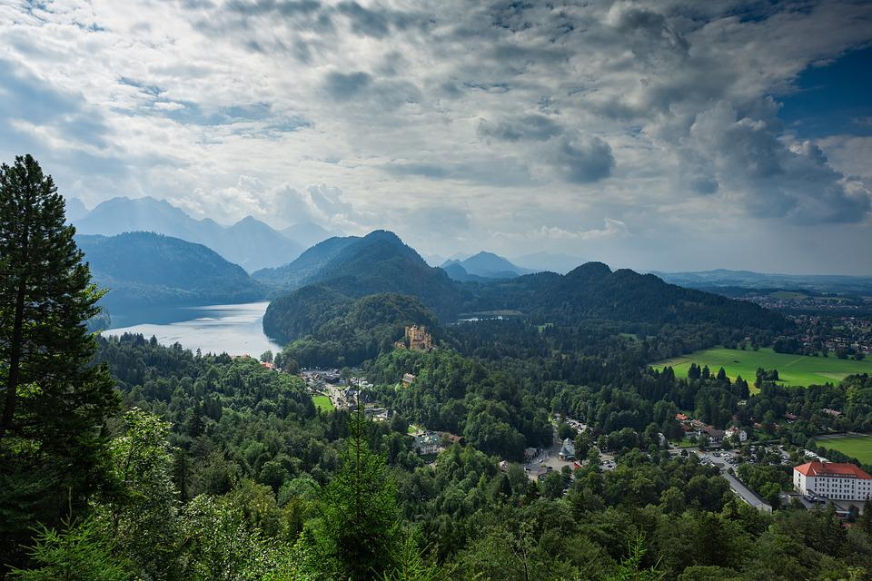 Mountains, Neuschwanstein Castle View, Scenic