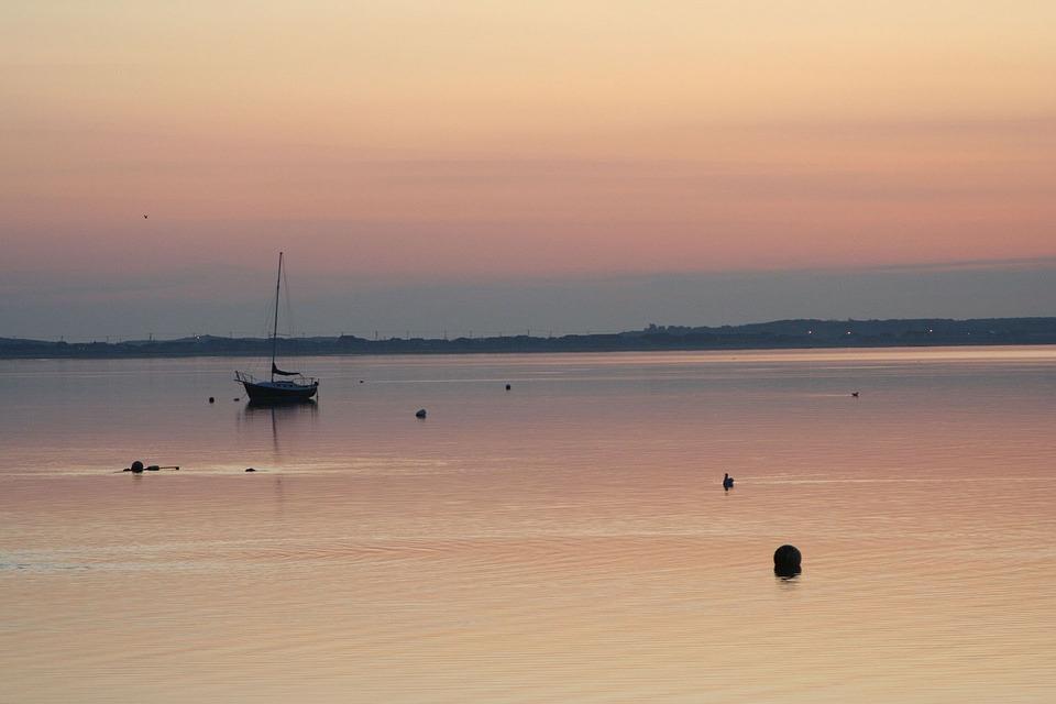 Sunrise, Bay, Reflection, Ocean, Seascape, Sky, Scenic