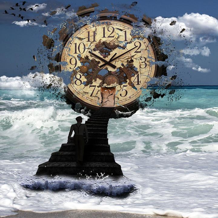 Sea, Clock, Waves, Birds, Sky, Clouds, Seashore, Scenic