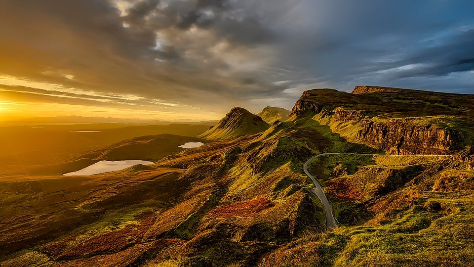 Scotland, Landscape, Scenic, Mountains, Hills, Sunset