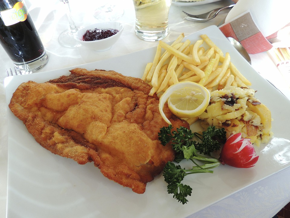 Schnitzel, Ketchup, French, Lemon, French Fries, Dine