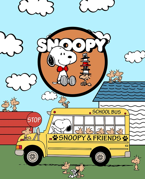 Snoopy, Character, Bus, School Bus, House, Roof