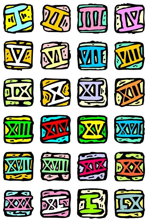 Roman, Numbers, Set, Numbering, School, Kids, Digit