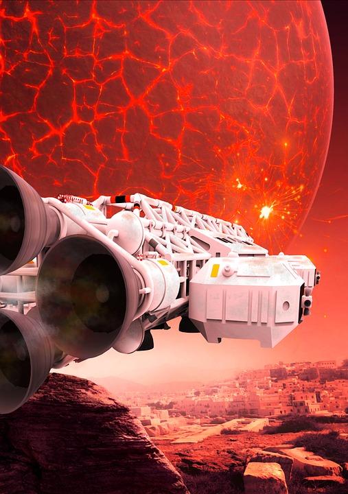 Spaceship, Planet, Science Fiction, Lighting, Fantasy