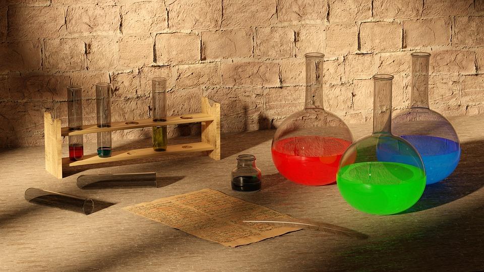 Chemistry, Science, Antique, Bottles, Test Tube, 3d