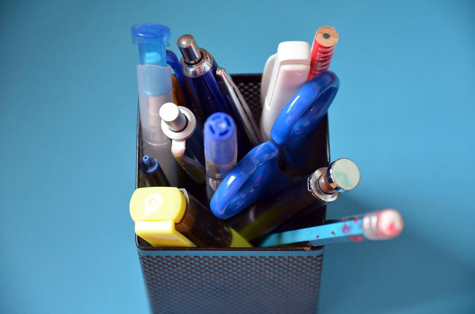 Pen Box, Pens, Scissors, Pen, Highlighter, Pencil