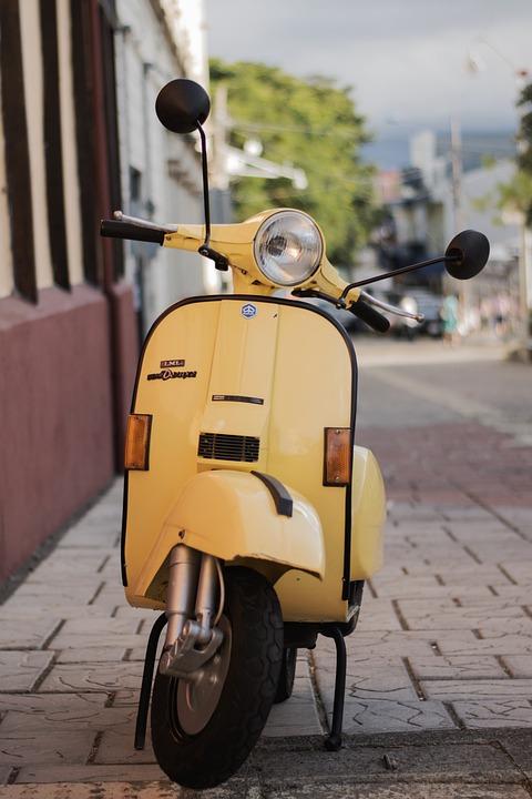 Scooter, Yellow, Vehicle, Retro, Vintage, Street