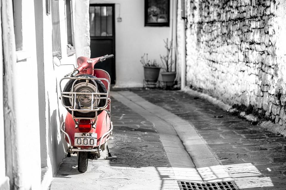 Vespa, Backstreet, Greece, Ioannina, Spring, Scooter
