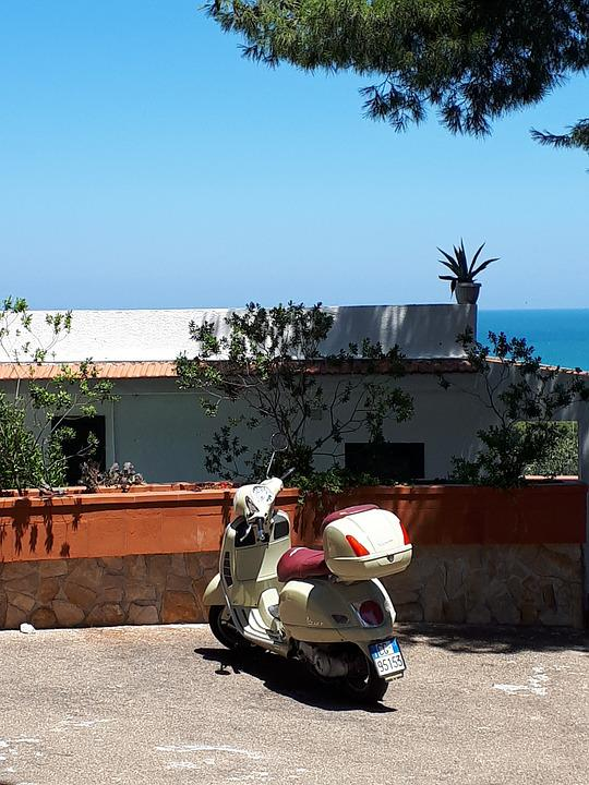 Wasp, Sea, Blue, Holiday, Scooter, Piaggio, Landscape