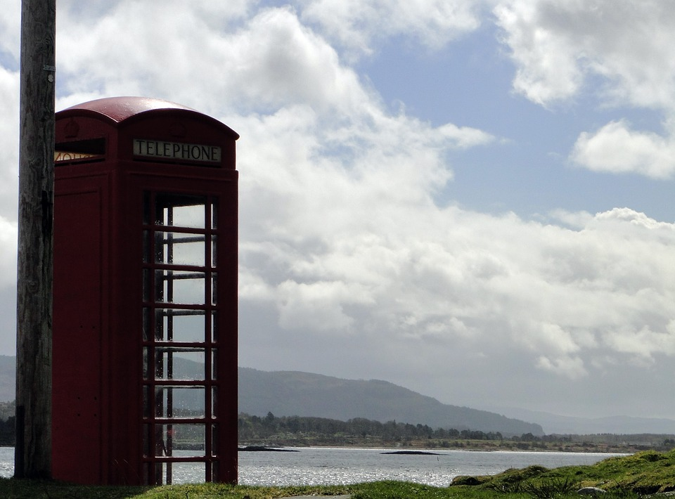 Phone Booth, Phone, Red, Scotland, Scottish, Landscape