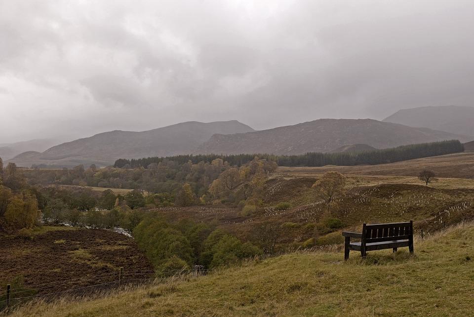 Scotland, Scenery, Bench, Landscape