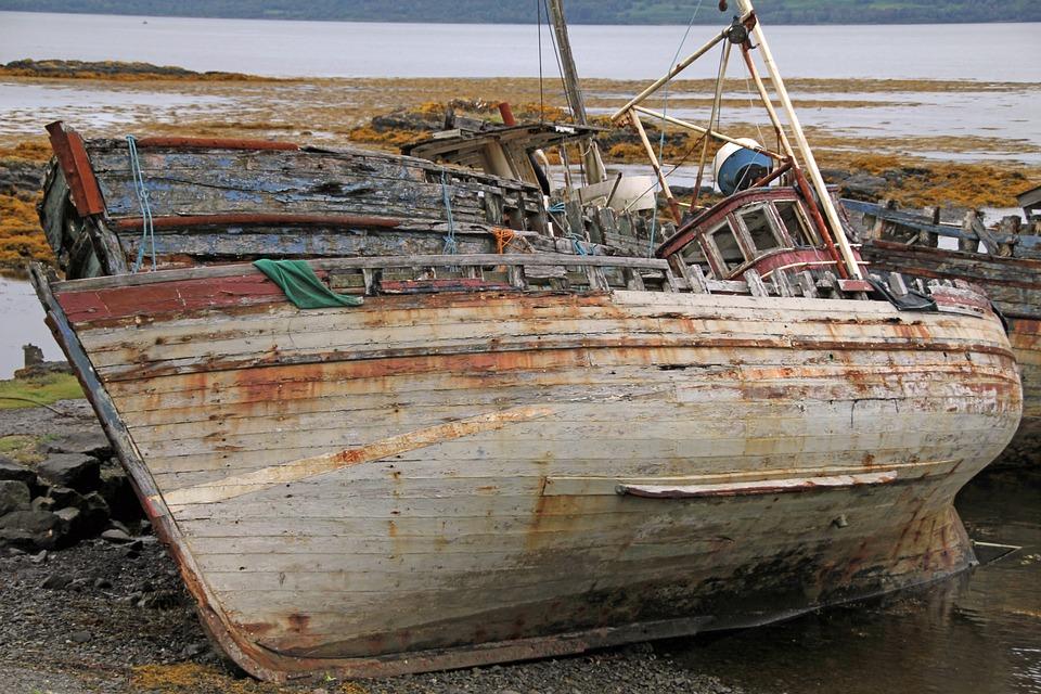 Ship, Wreck, Scotland, Beach, Sea, Water