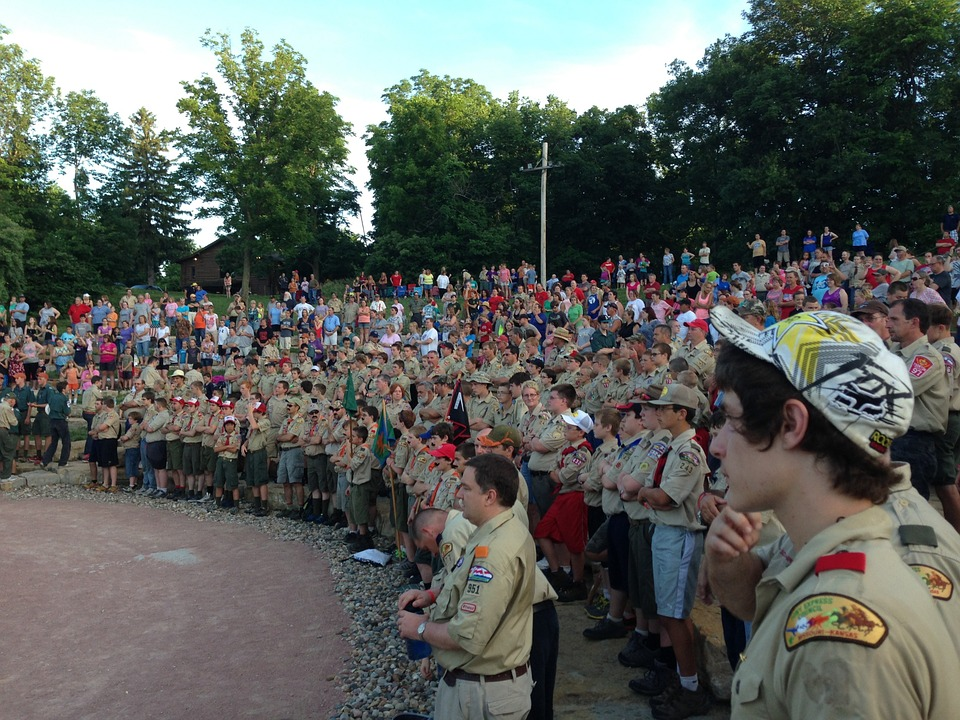 Scouts, Camp Geiger, Campfire, Assembly