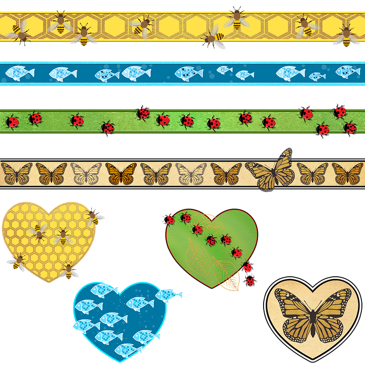 Ribbons, Hearts, Scrapbooking, Butterflies, Fish, Bees