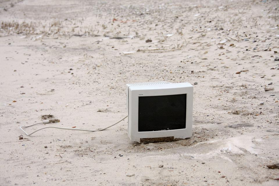 Monitor On The Beach, Washed Up On, Beach, Screen