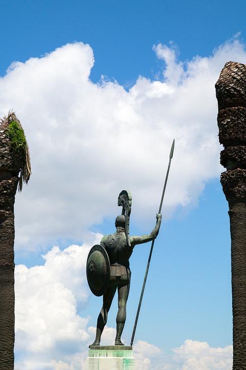 Achilles, Sculpture, Back, Statue, Achilleion, Corfu