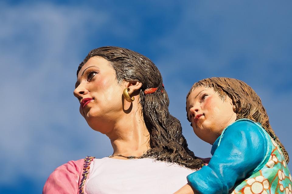 Figures, Art, Sculpture, Statue, Woman, Child