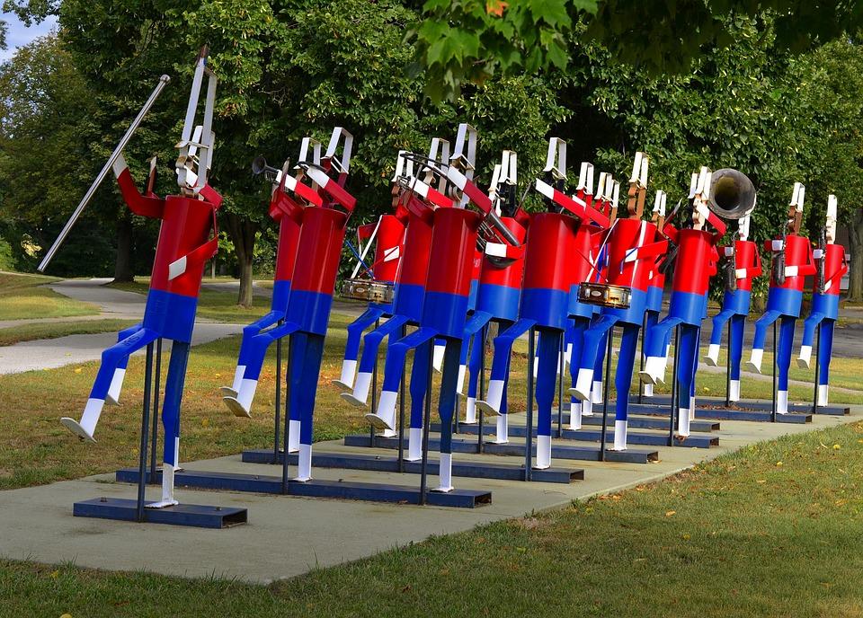 Elkhart, Indiana, Marching, Band, Sculpture, Art, Mu