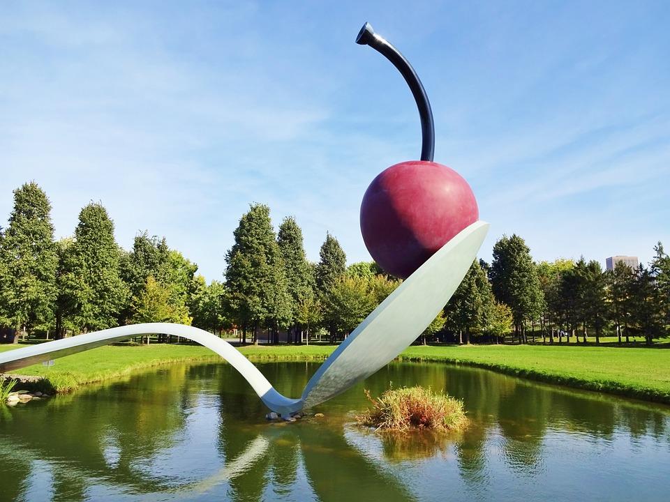 Cherry On A Spoon, Cherry, Sculpture, Minneapolis