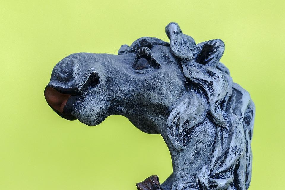 Horse, Statue, Stone, Sculpture, Funny, Decoration