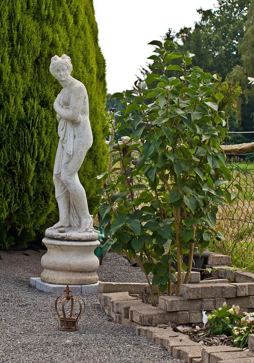 Statue, Pillar, Greek, Antique, White Cement, Sculpture