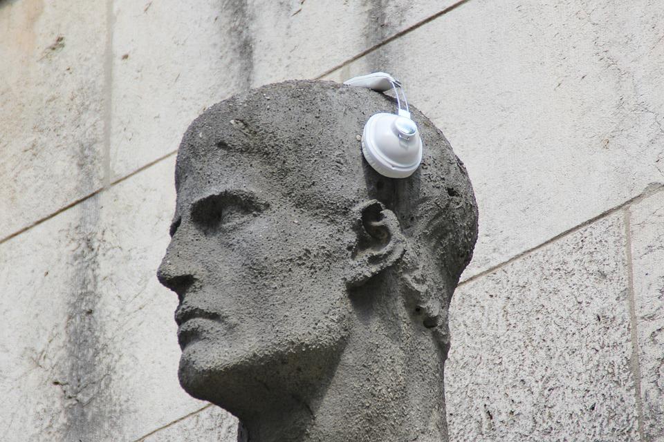 Headphones, Statue, Sculpture, Ear, Listen, Music