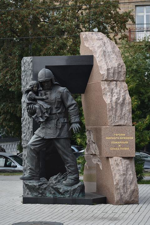 Monument, Sculpture, Firefighter, Rescuer, Hero