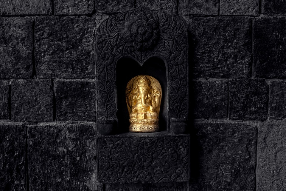Image, Statue, Wall, Gold, Black, Stone, Sculpture