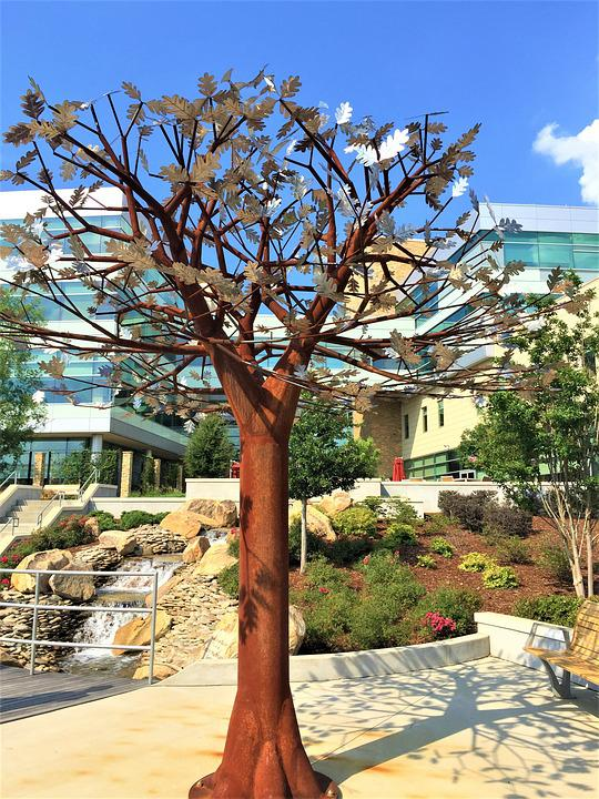 Metal Tree, Sculpture, Colorful, Architecture, Blue Sky
