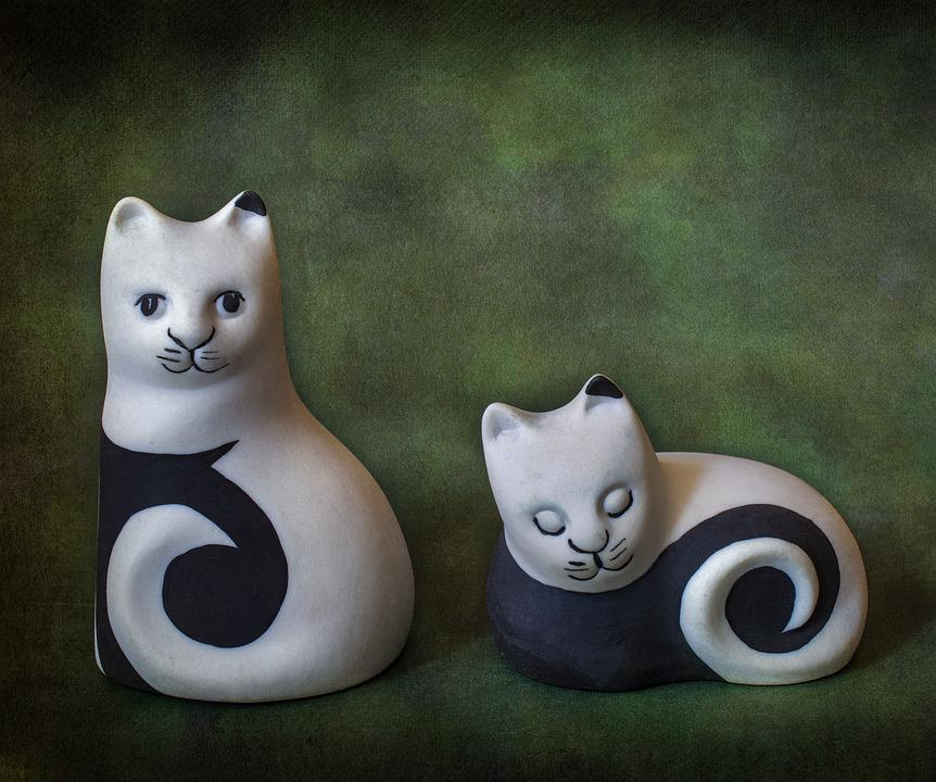 Cats, Art-deco, Vintage, Pair, Porcelain, Sculpture