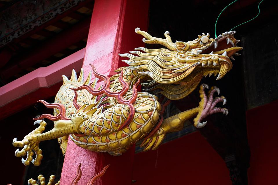 Dragon, Red, Sculpture, Chinese, Religion, Peace