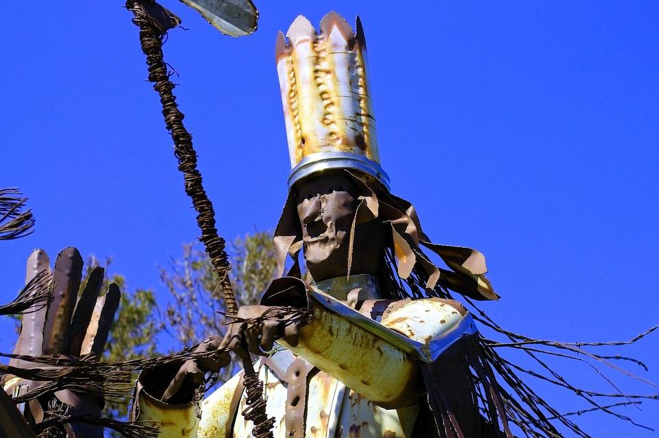 Blackfeet Warriors Sculpture, Sculpture, Metal, Scrap