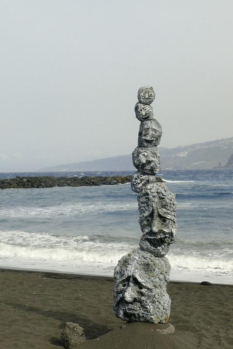 Figure, Stones, Faces, Stack, Sea, Mimic, Sculpture
