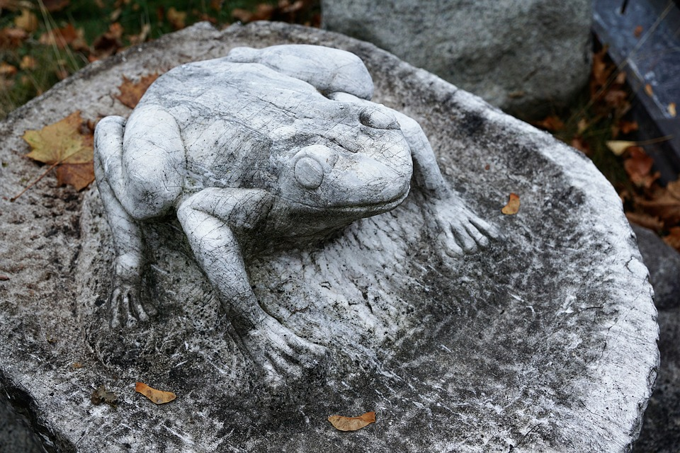 Frog, Stone, Sculpture, Amphibian, Decoration
