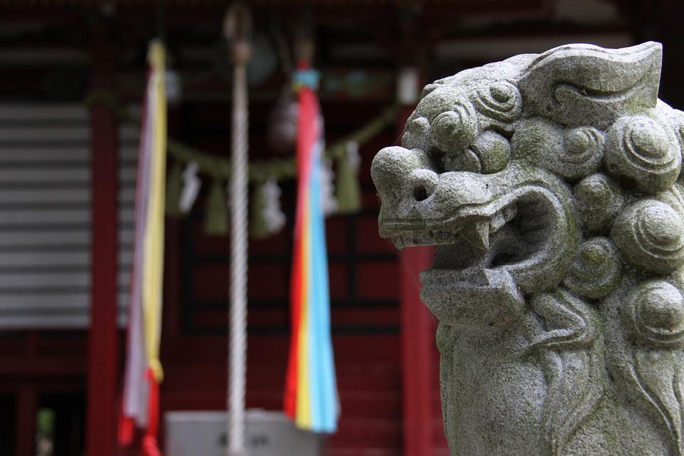 Shrine, Guardian Dogs, Japan, Stone Statues, Sculpture