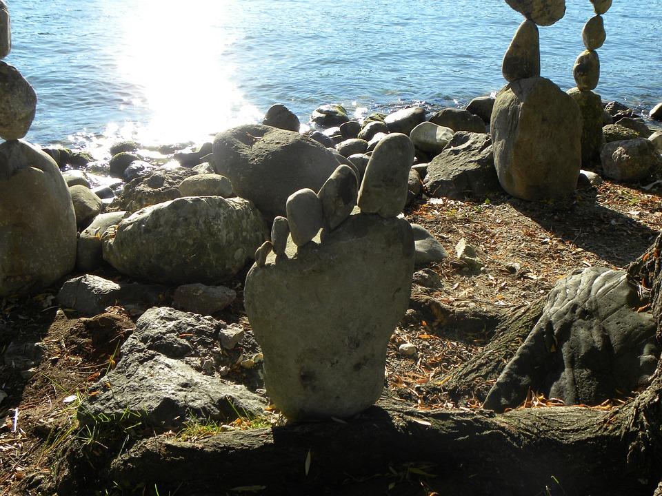 Stones, Sculpture, Zurich Lake, Balance, Meditation