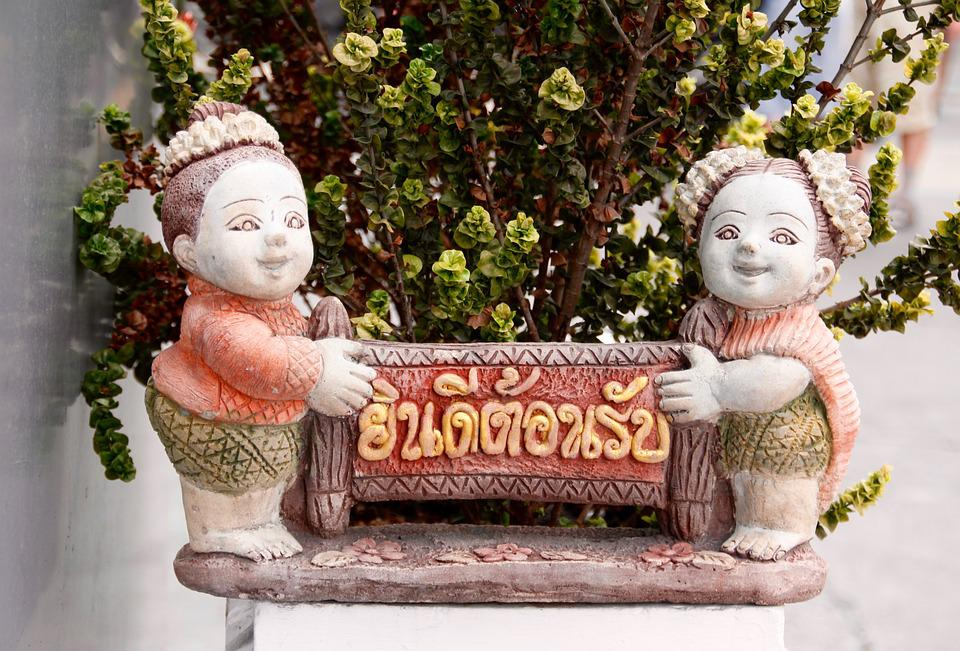 Welcome, Thailand, Sculpture, Fig, Stone Figure
