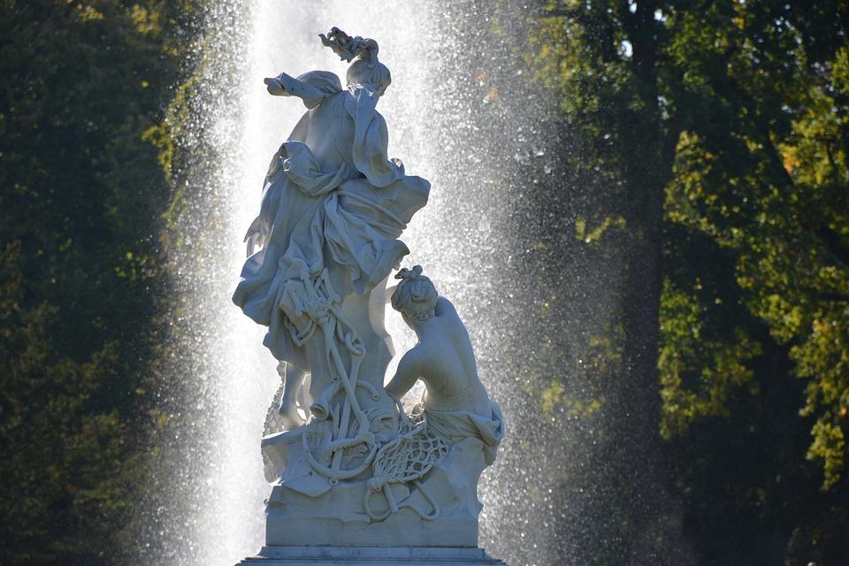 Park Sanssouci, Sculpture, Water Games, Back Light