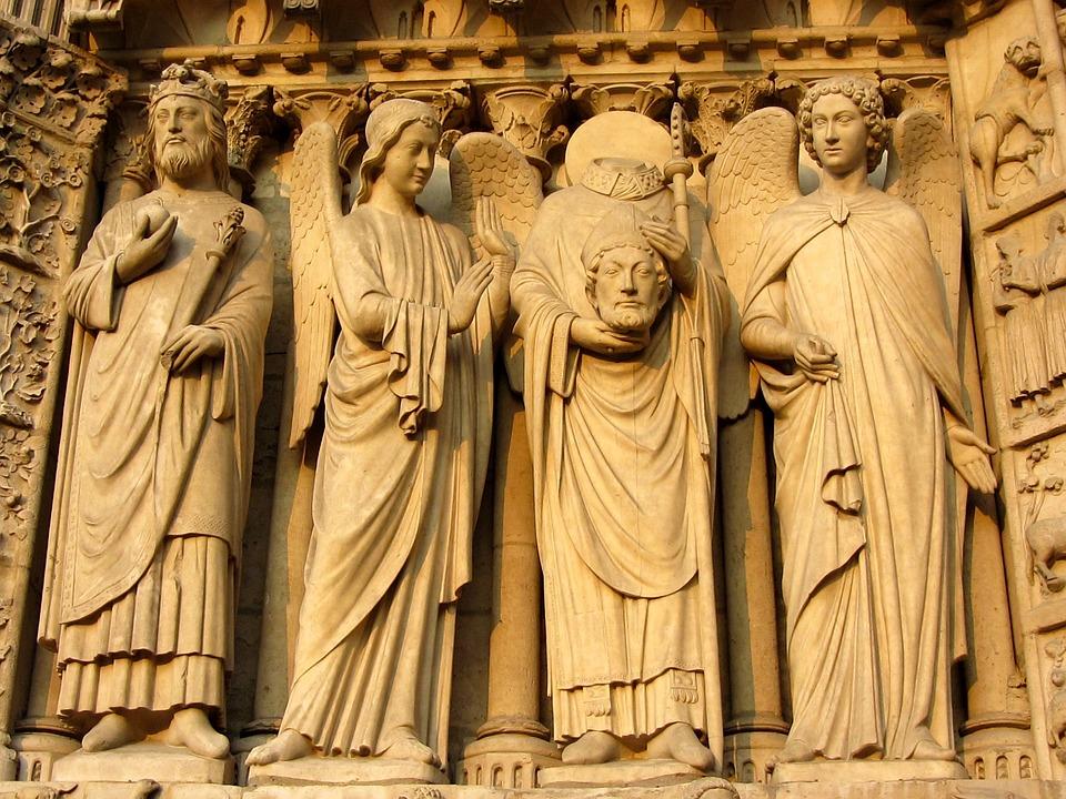 Statues, Sculptures, Notre Dame, Paris, Facade