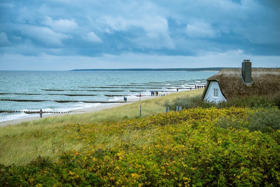 Ahrenshoop, Home, Sea, Building, Baltic Sea, Clouds