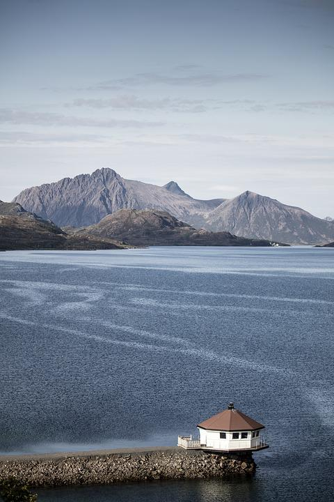 Fjord, Camp, Norway, Arctic Circle, House, Water, Sea